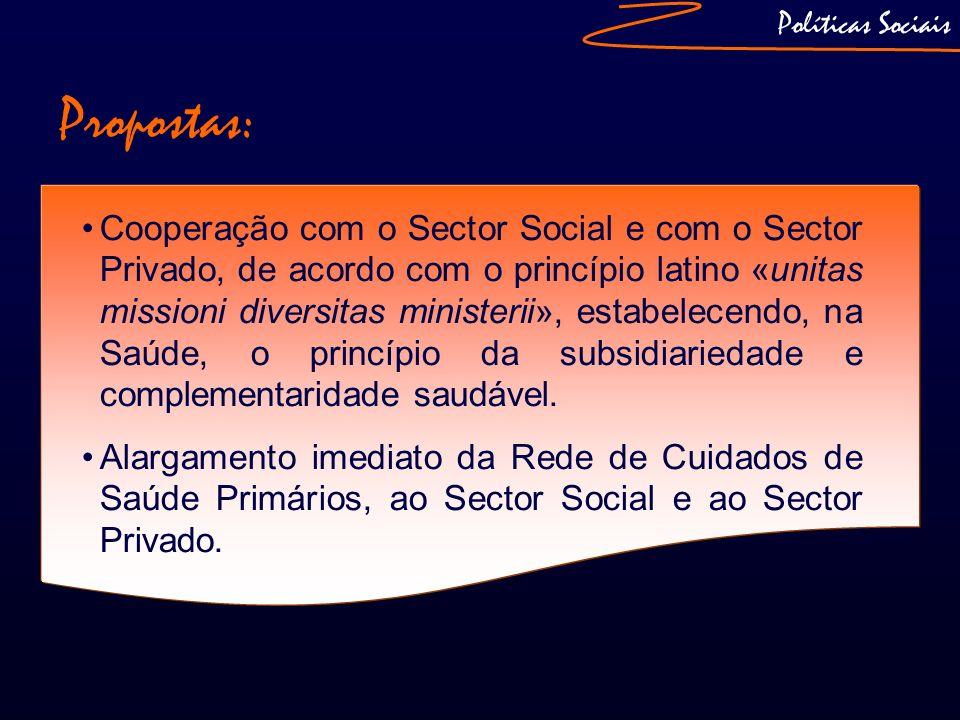 Políticas Sociais Propostas: Cooperação com o Sector Social e com o Sector Privado, de acordo com o princípio latino «unitas missioni diversitas minis