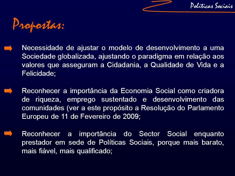 Propostas: Políticas Sociais Necessidade de ajustar o modelo de desenvolvimento a uma Sociedade globalizada, ajustando o paradigma em relação aos valo