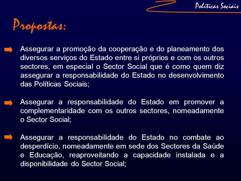 Propostas: Políticas Sociais Assegurar a promoção da cooperação e do planeamento dos diversos serviços do Estado entre si próprios e com os outros sec