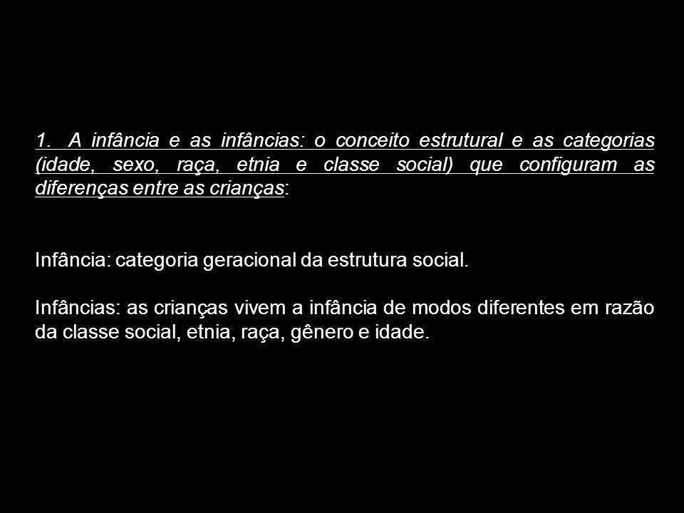 1.A infância e as infâncias: o conceito estrutural e as categorias (idade, sexo, raça, etnia e classe social) que configuram as diferenças entre as cr