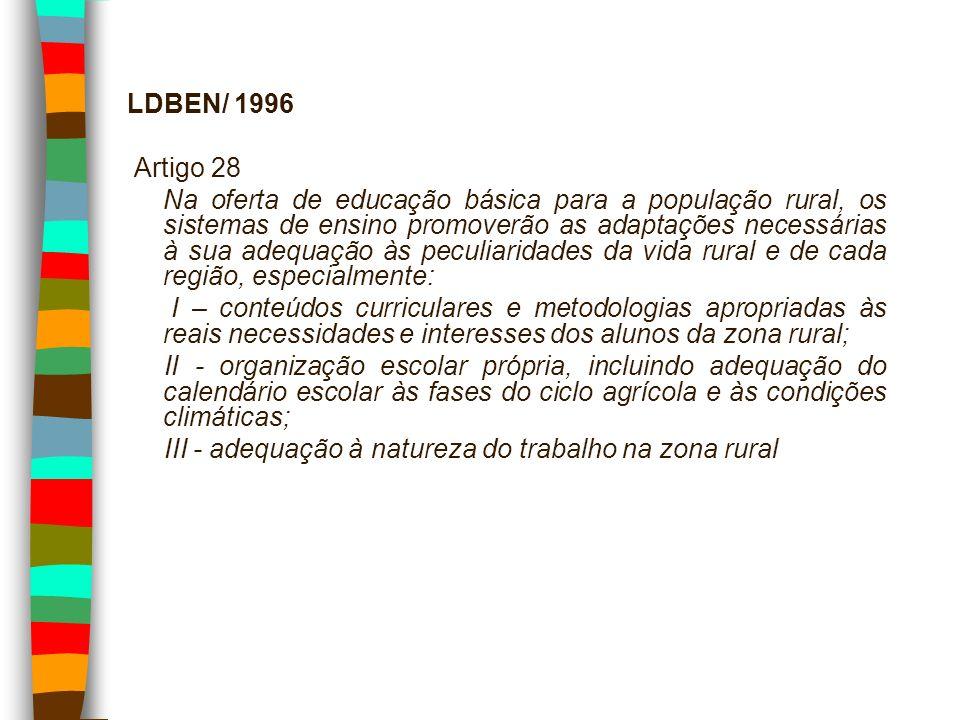 LDBEN/ 1996 Artigo 28 Na oferta de educação básica para a população rural, os sistemas de ensino promoverão as adaptações necessárias à sua adequação