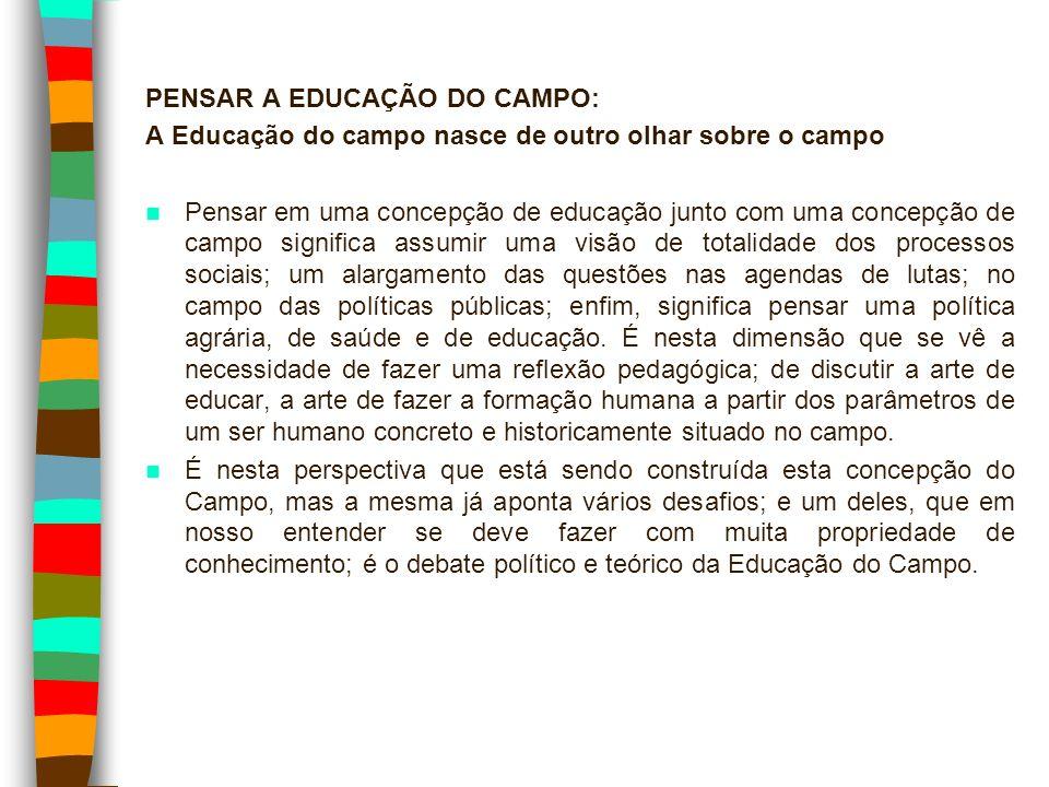 PENSAR A EDUCAÇÃO DO CAMPO: A Educação do campo nasce de outro olhar sobre o campo Pensar em uma concepção de educação junto com uma concepção de camp