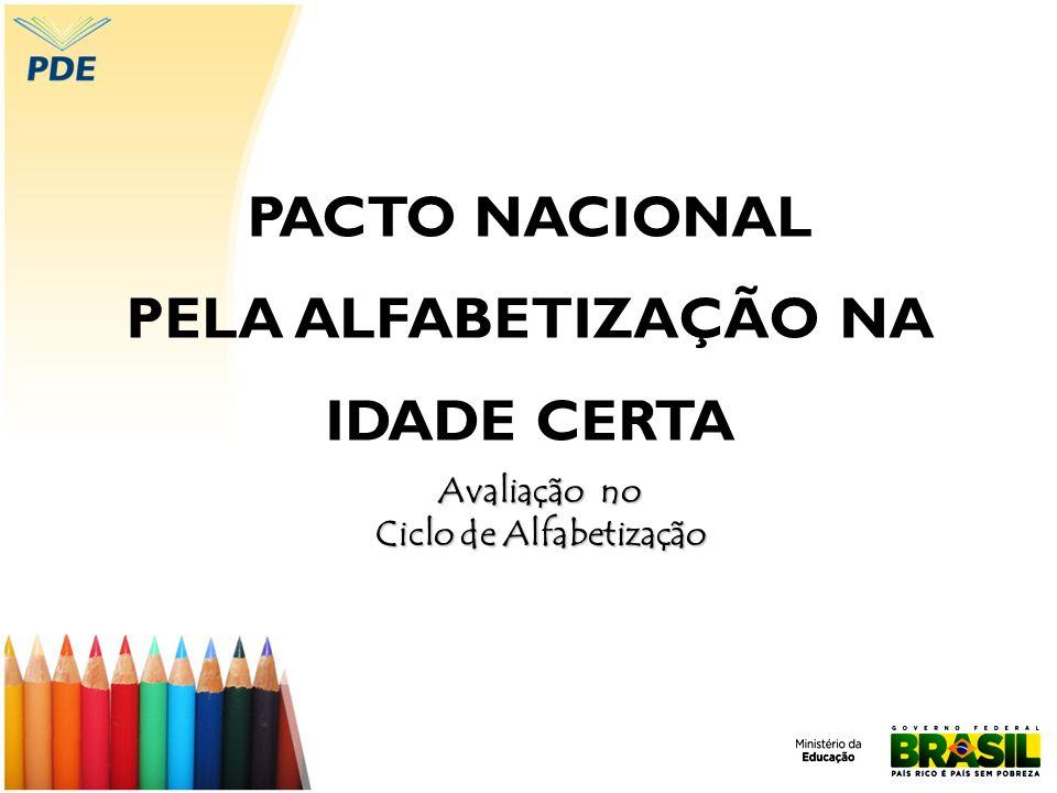 PACTO NACIONAL PELA ALFABETIZAÇÃO NA IDADE CERTA Avaliação no Ciclo de Alfabetização