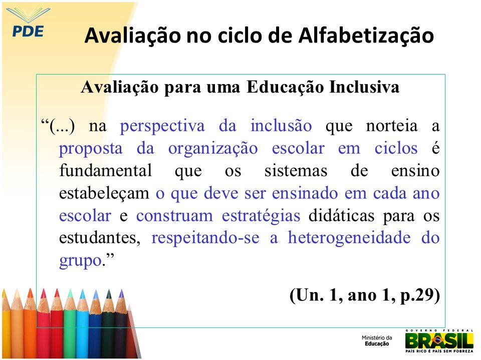 Avaliação no ciclo de Alfabetização Avaliação para uma Educação Inclusiva (...) na perspectiva da inclusão que norteia a proposta da organização escol