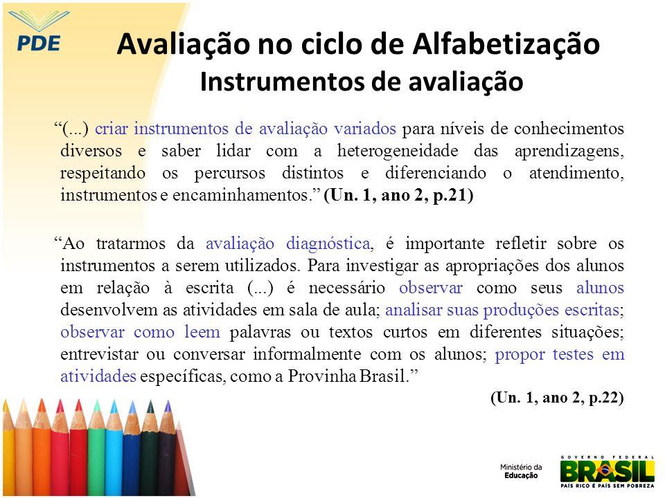 Avaliação no ciclo de Alfabetização Instrumentos de avaliação (...) criar instrumentos de avaliação variados para níveis de conhecimentos diversos e s