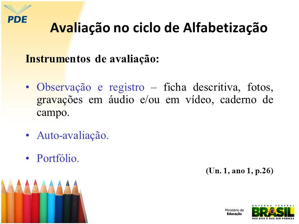 Avaliação no ciclo de Alfabetização Instrumentos de avaliação: Observação e registro – ficha descritiva, fotos, gravações em áudio e/ou em vídeo, cade