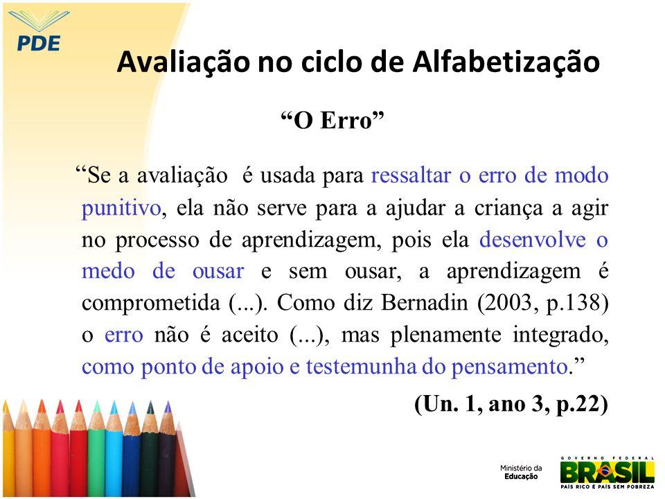 Avaliação no ciclo de Alfabetização O Erro Se a avaliação é usada para ressaltar o erro de modo punitivo, ela não serve para a ajudar a criança a agir