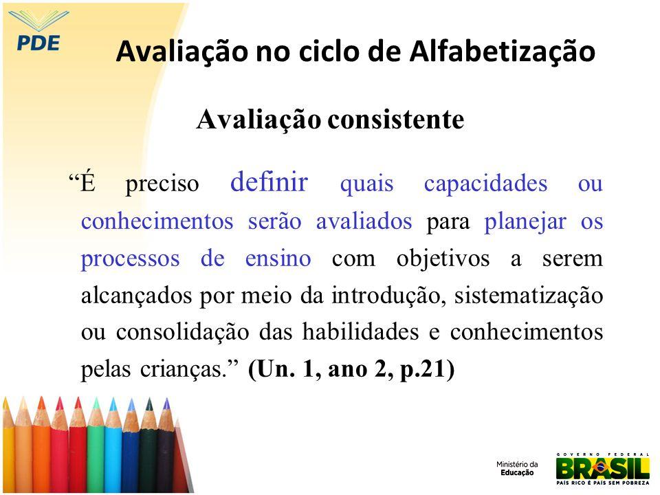 Avaliação no ciclo de Alfabetização Avaliação consistente É preciso definir quais capacidades ou conhecimentos serão avaliados para planejar os proces