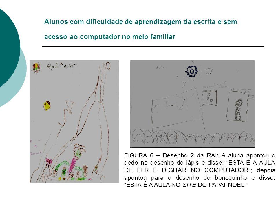 Alunos com dificuldade de aprendizagem da escrita e sem acesso ao computador no meio familiar FIGURA 6 – Desenho 2 da RAI: A aluna apontou o dedo no d