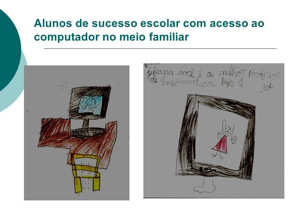 Alunos de sucesso escolar com acesso ao computador no meio familiar