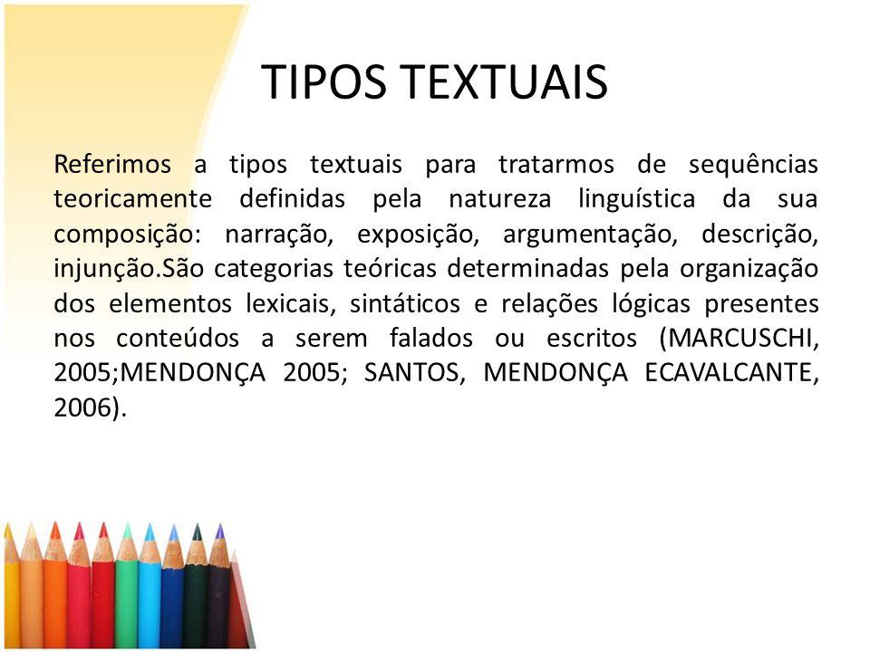 TIPOS TEXTUAIS Referimos a tipos textuais para tratarmos de sequências teoricamente definidas pela natureza linguística da sua composição: narração, e