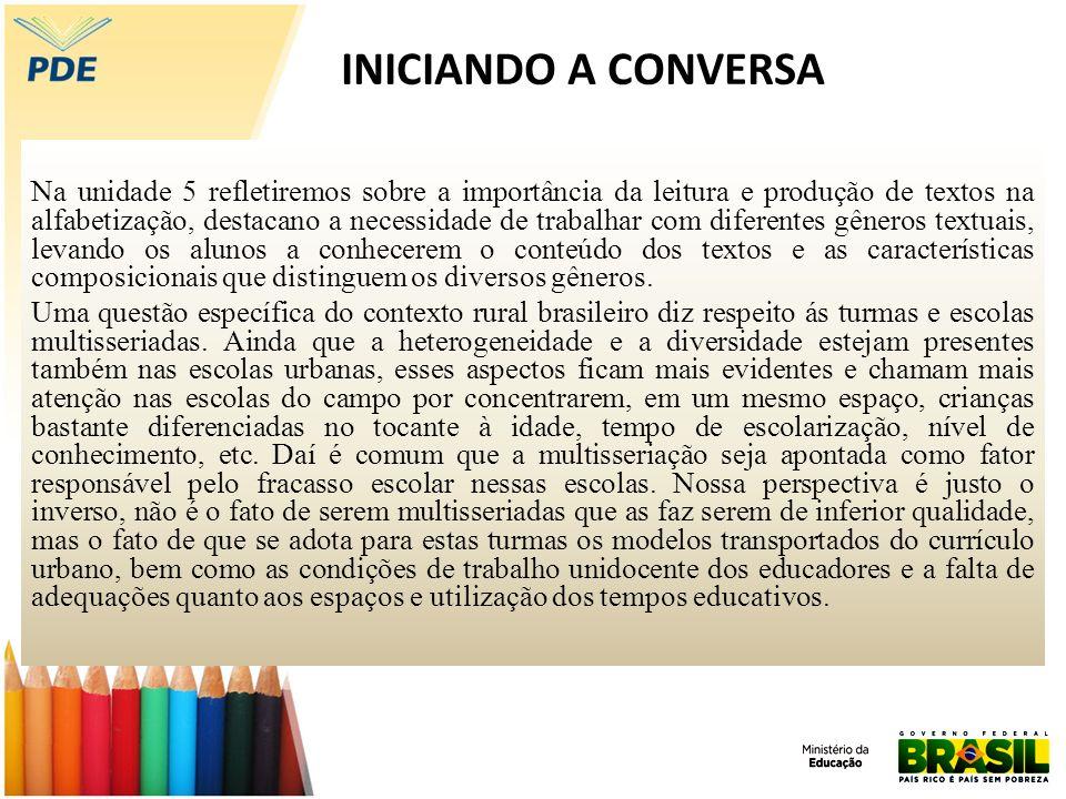 INICIANDO A CONVERSA Na unidade 5 refletiremos sobre a importância da leitura e produção de textos na alfabetização, destacano a necessidade de trabal