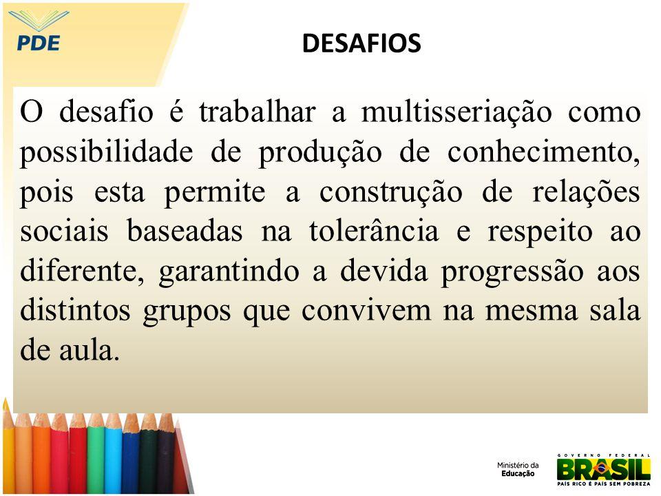DESAFIOS O desafio é trabalhar a multisseriação como possibilidade de produção de conhecimento, pois esta permite a construção de relações sociais bas
