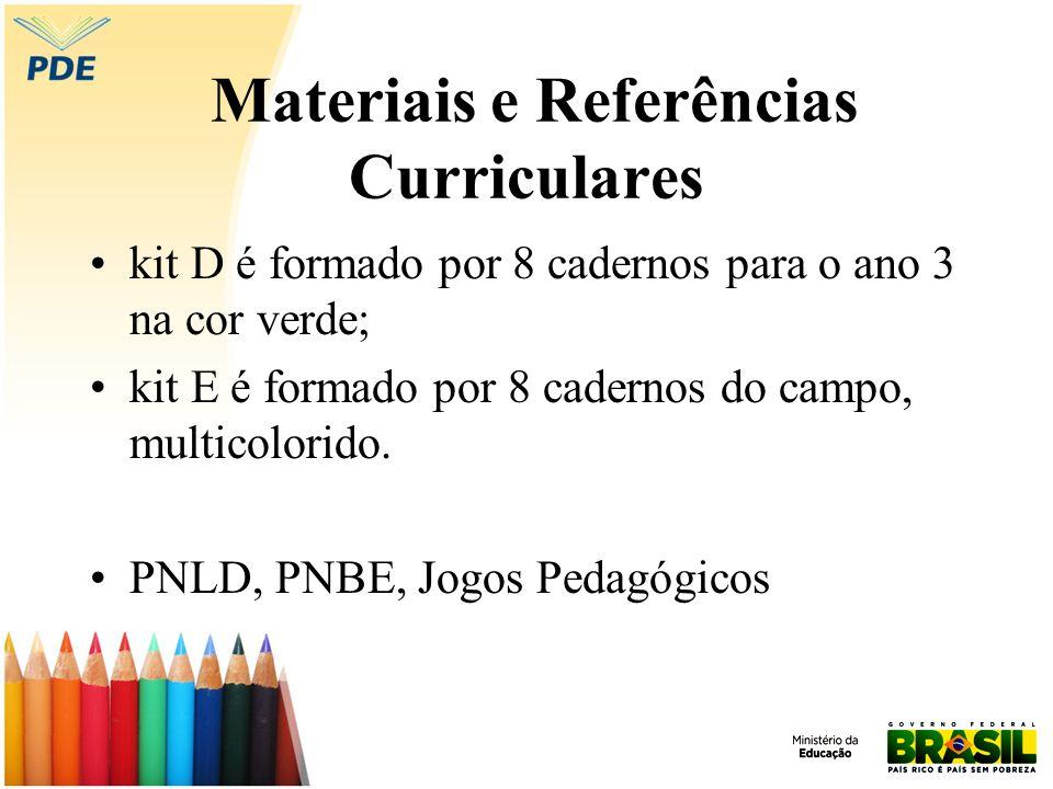 Materiais e Referências Curriculares kit D é formado por 8 cadernos para o ano 3 na cor verde; kit E é formado por 8 cadernos do campo, multicolorido.