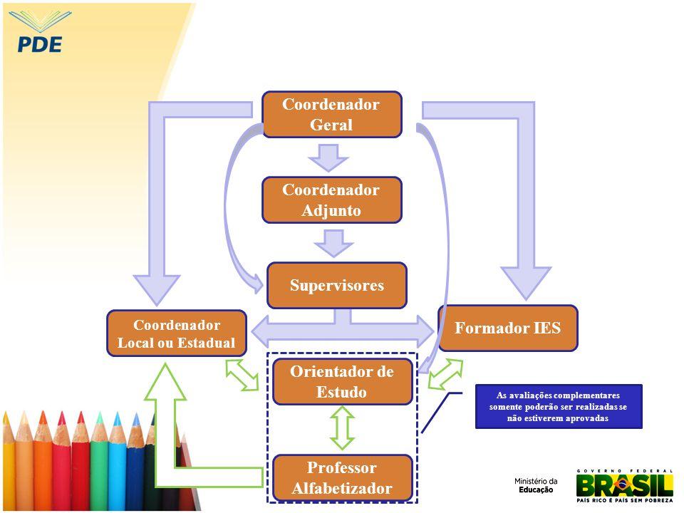 Coordenador Geral Supervisores Coordenador Adjunto Formador IES Orientador de Estudo Professor Alfabetizador Coordenador Local ou Estadual As avaliaçõ
