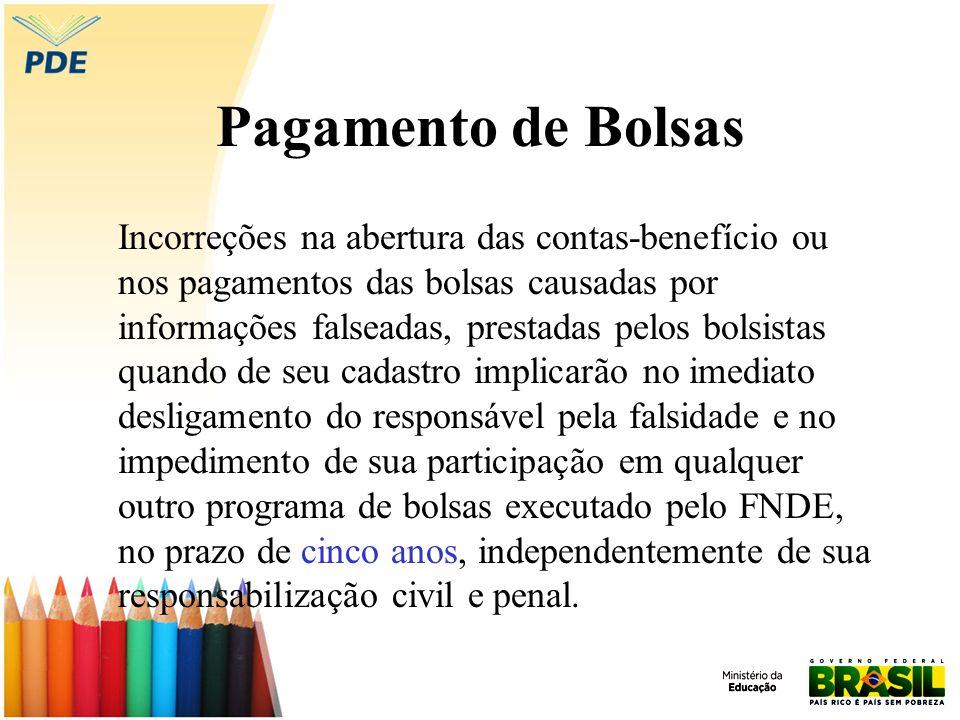 Pagamento de Bolsas Incorreções na abertura das contas-benefício ou nos pagamentos das bolsas causadas por informações falseadas, prestadas pelos bols
