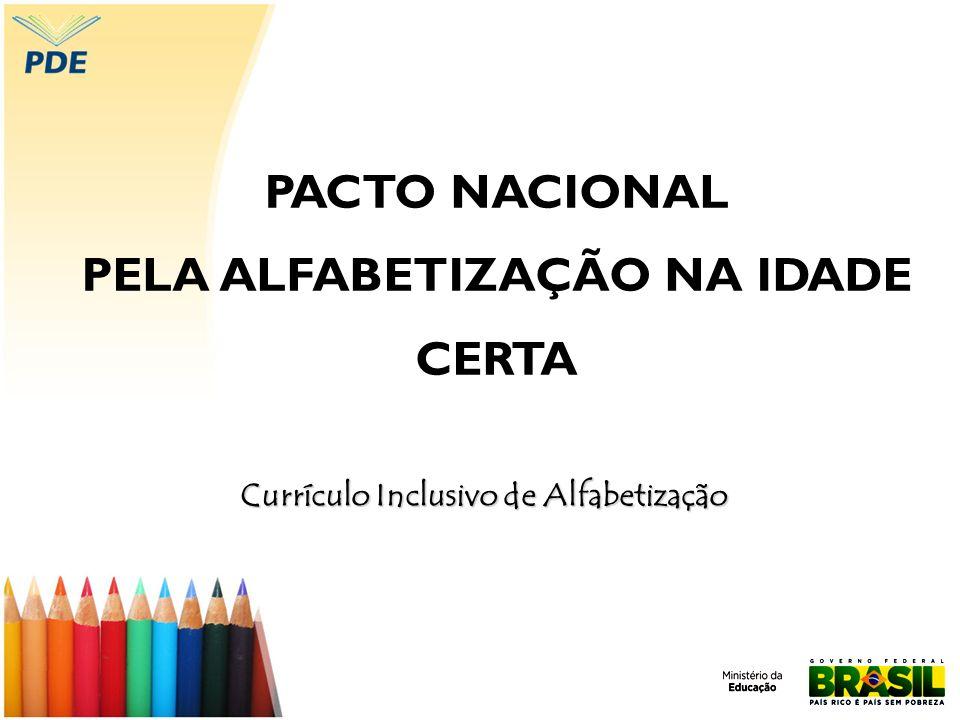 PACTO NACIONAL PELA ALFABETIZAÇÃO NA IDADE CERTA Currículo Inclusivo de Alfabetização