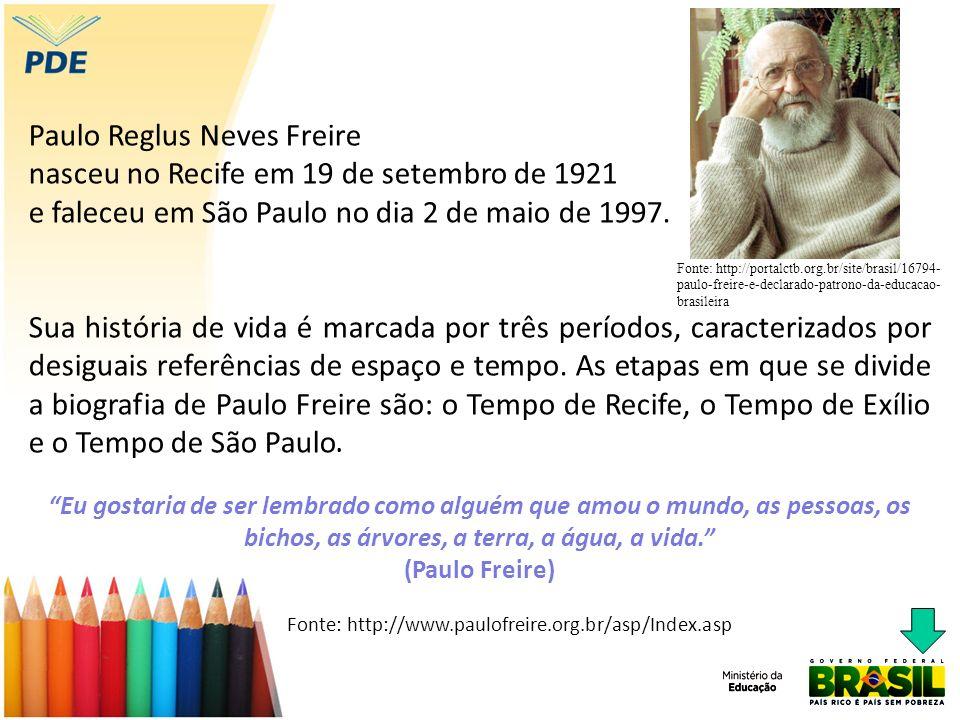 Paulo Reglus Neves Freire nasceu no Recife em 19 de setembro de 1921 e faleceu em São Paulo no dia 2 de maio de 1997.