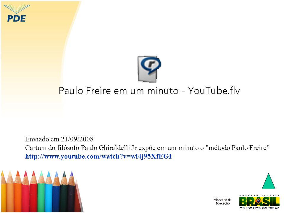 Enviado em 21/09/2008 Cartum do filósofo Paulo Ghiraldelli Jr expõe em um minuto o método Paulo Freire http://www.youtube.com/watch?v=wl4j95XfEGI