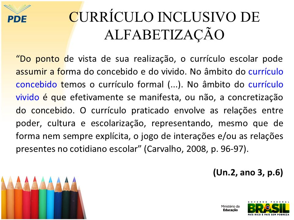 CURRÍCULO INCLUSIVO DE ALFABETIZAÇÃO Dimensão inclusiva (...) experiências escolares que se desdobram em torno do conhecimento, em meio a relações sociais, e que contribuem para a construção das identidades de nossos estudantes (Moreira; Candau, 2007, p.18).