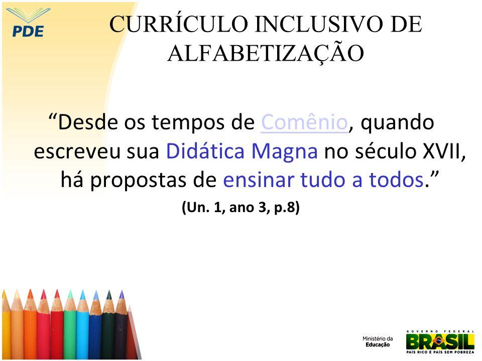 CURRÍCULO INCLUSIVO DIREITOS DE APRENDIZAGEM Ao concebermos a educação como direito (...), é primordial a consideração dos direitos de aprendizagem como um compromisso social, de modo a garantir que até ao 3º ano do Ensino Fundamental todos estejam alfabetizados.