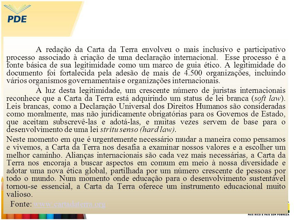 A redação da Carta da Terra envolveu o mais inclusivo e participativo processo associado à criação de uma declaração internacional. Esse processo é a