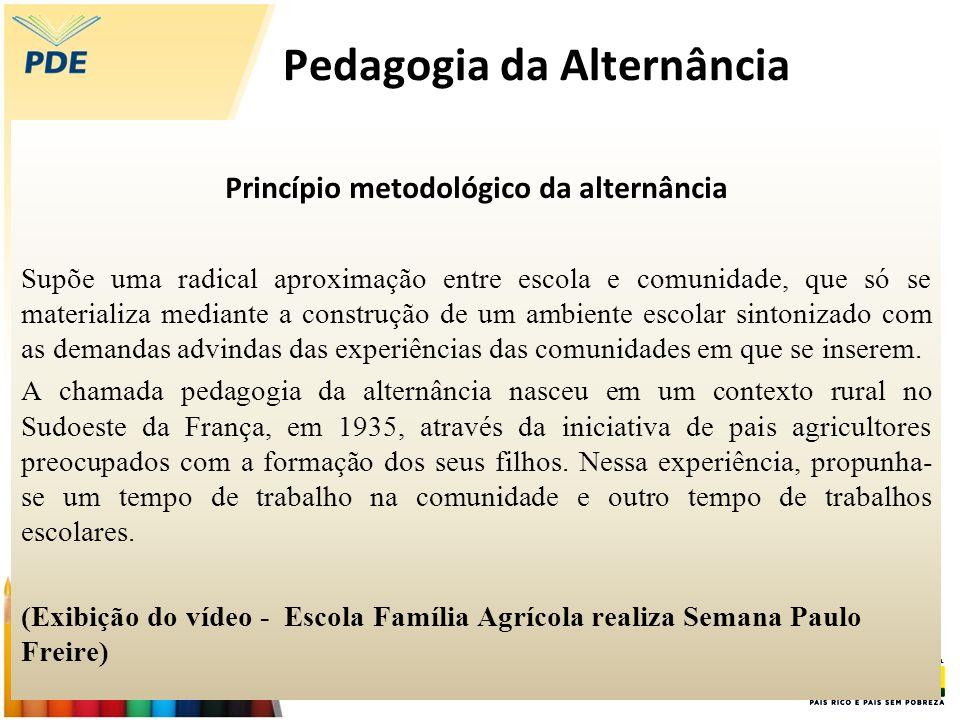 Pedagogia da Alternância Princípio metodológico da alternância Supõe uma radical aproximação entre escola e comunidade, que só se materializa mediante
