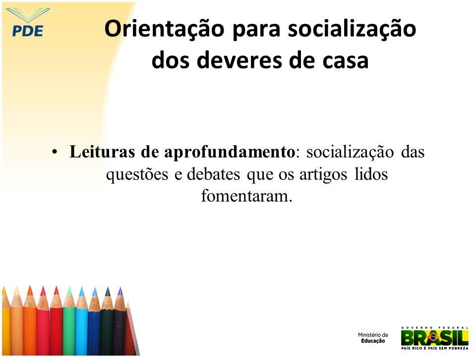 Orientação para socialização dos deveres de casa Leituras de aprofundamento: socialização das questões e debates que os artigos lidos fomentaram.