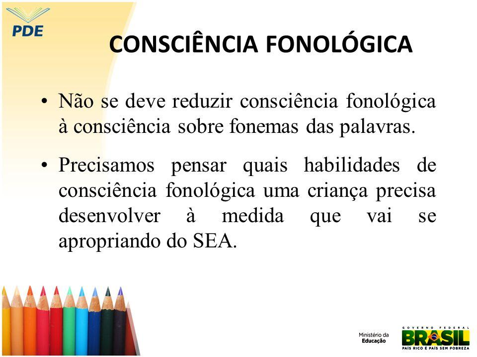 CONSCIÊNCIA FONOLÓGICA Não se deve reduzir consciência fonológica à consciência sobre fonemas das palavras. Precisamos pensar quais habilidades de con