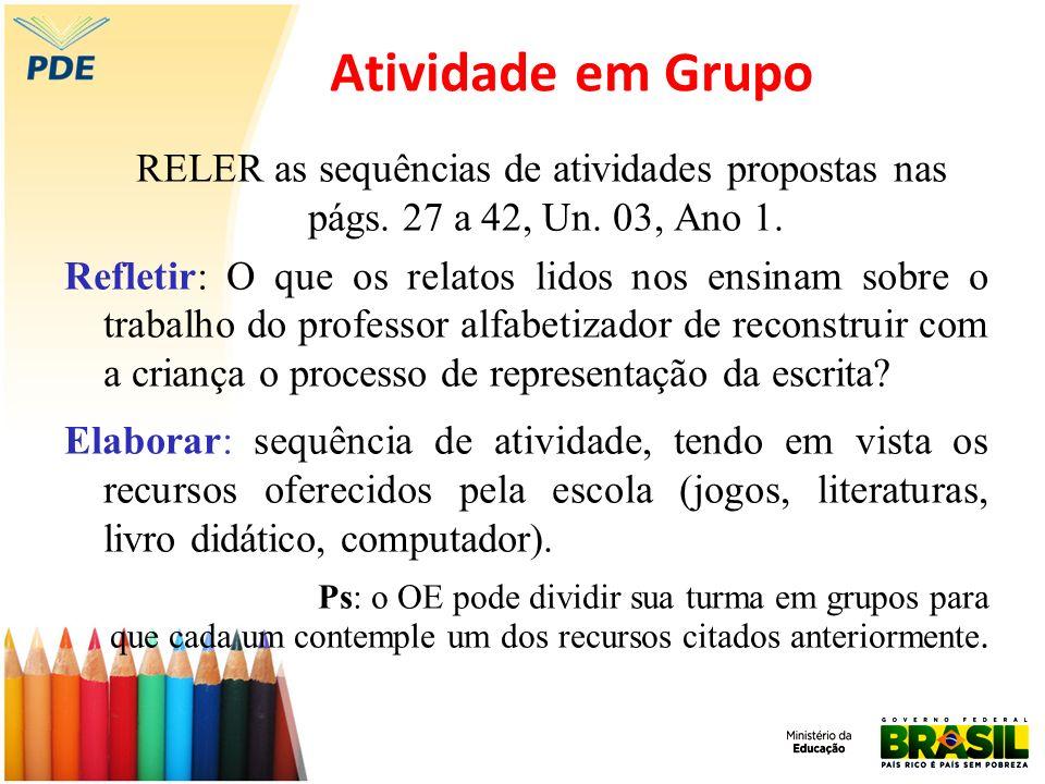 Atividade em Grupo RELER as sequências de atividades propostas nas págs. 27 a 42, Un. 03, Ano 1. Refletir: O que os relatos lidos nos ensinam sobre o