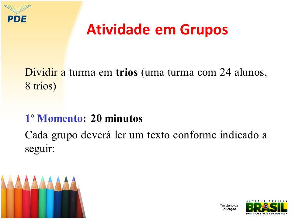 Atividade em Grupos Dividir a turma em trios (uma turma com 24 alunos, 8 trios) 1º Momento: 20 minutos Cada grupo deverá ler um texto conforme indicad