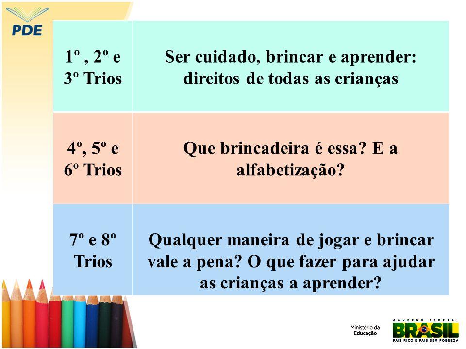1º, 2º e 3º Trios Ser cuidado, brincar e aprender: direitos de todas as crianças 4º, 5º e 6º Trios Que brincadeira é essa? E a alfabetização? 7º e 8º