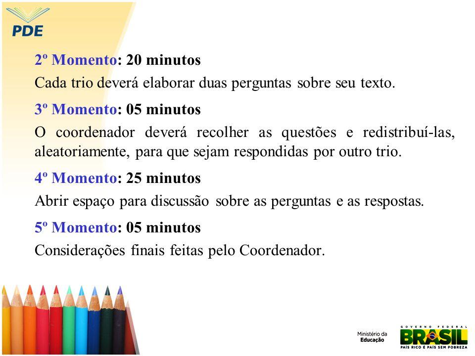2º Momento: 20 minutos Cada trio deverá elaborar duas perguntas sobre seu texto. 3º Momento: 05 minutos O coordenador deverá recolher as questões e re