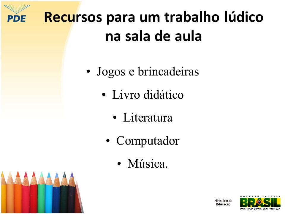 Recursos para um trabalho lúdico na sala de aula Jogos e brincadeiras Livro didático Literatura Computador Música.