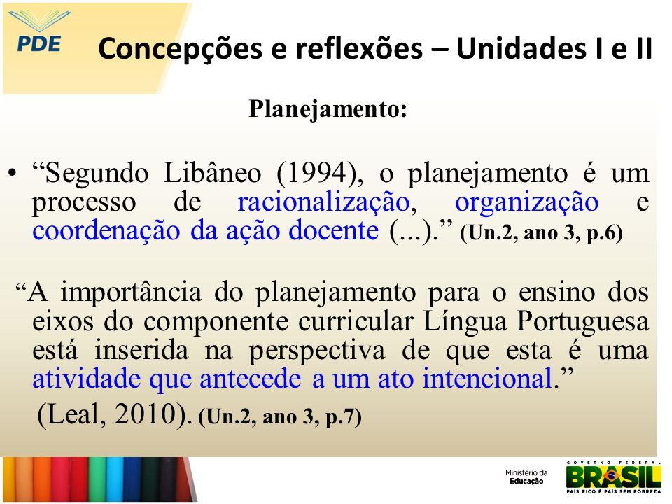 Concepções e reflexões – Unidades I e II Planejamento: Segundo Libâneo (1994), o planejamento é um processo de racionalização, organização e coordenaç