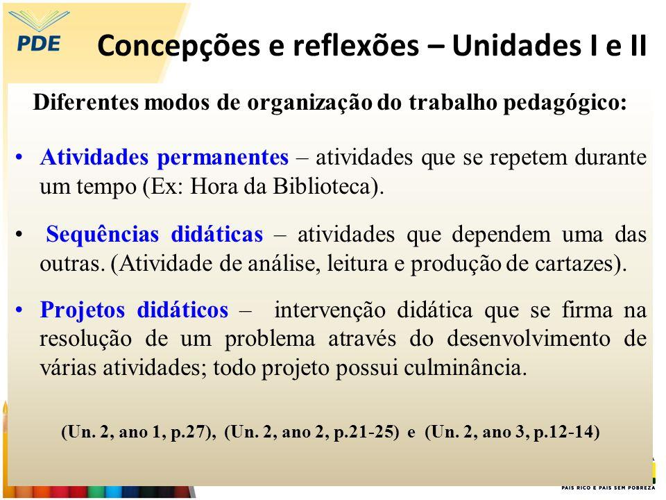 Concepções e reflexões – Unidades I e II Diferentes modos de organização do trabalho pedagógico: Atividades permanentes – atividades que se repetem du