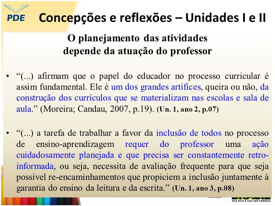 Concepções e reflexões – Unidades I e II O planejamento das atividades depende da atuação do professor (...) afirmam que o papel do educador no proces