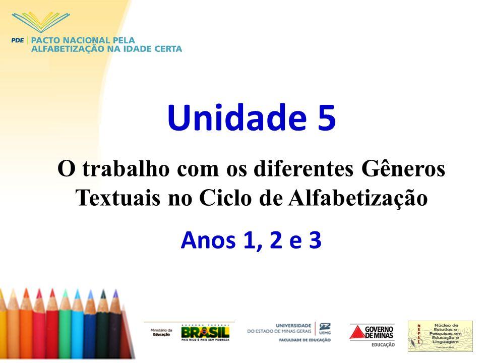 Unidade 5 O trabalho com os diferentes Gêneros Textuais no Ciclo de Alfabetização Anos 1, 2 e 3