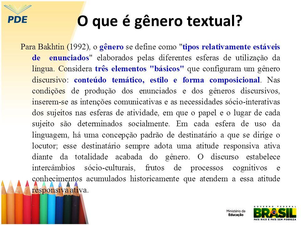 O que é gênero textual? Para Bakhtin (1992), o gênero se define como