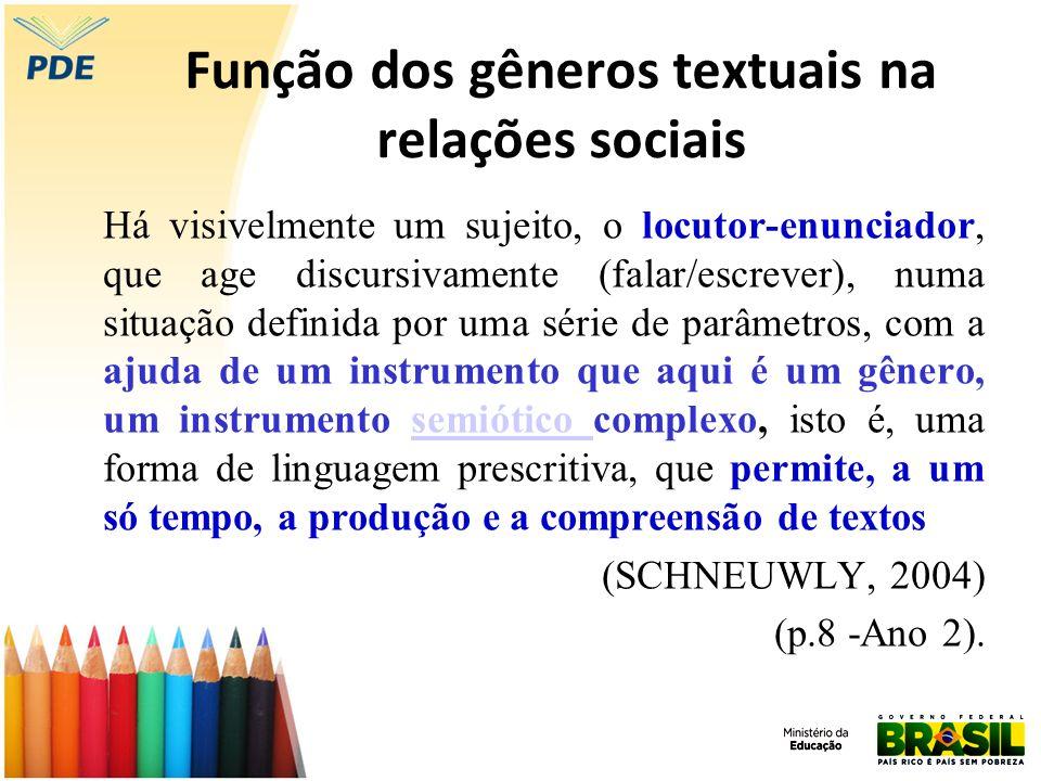 Função dos gêneros textuais na relações sociais Há visivelmente um sujeito, o locutor-enunciador, que age discursivamente (falar/escrever), numa situa