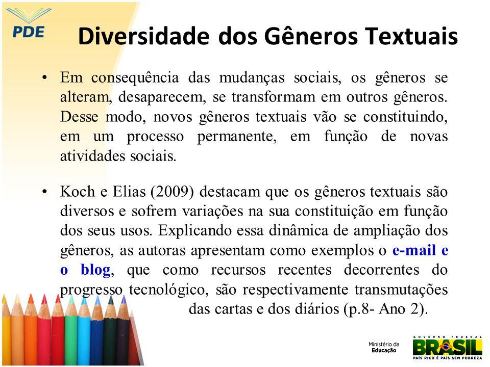 Diversidade dos Gêneros Textuais Em consequência das mudanças sociais, os gêneros se alteram, desaparecem, se transformam em outros gêneros. Desse mod