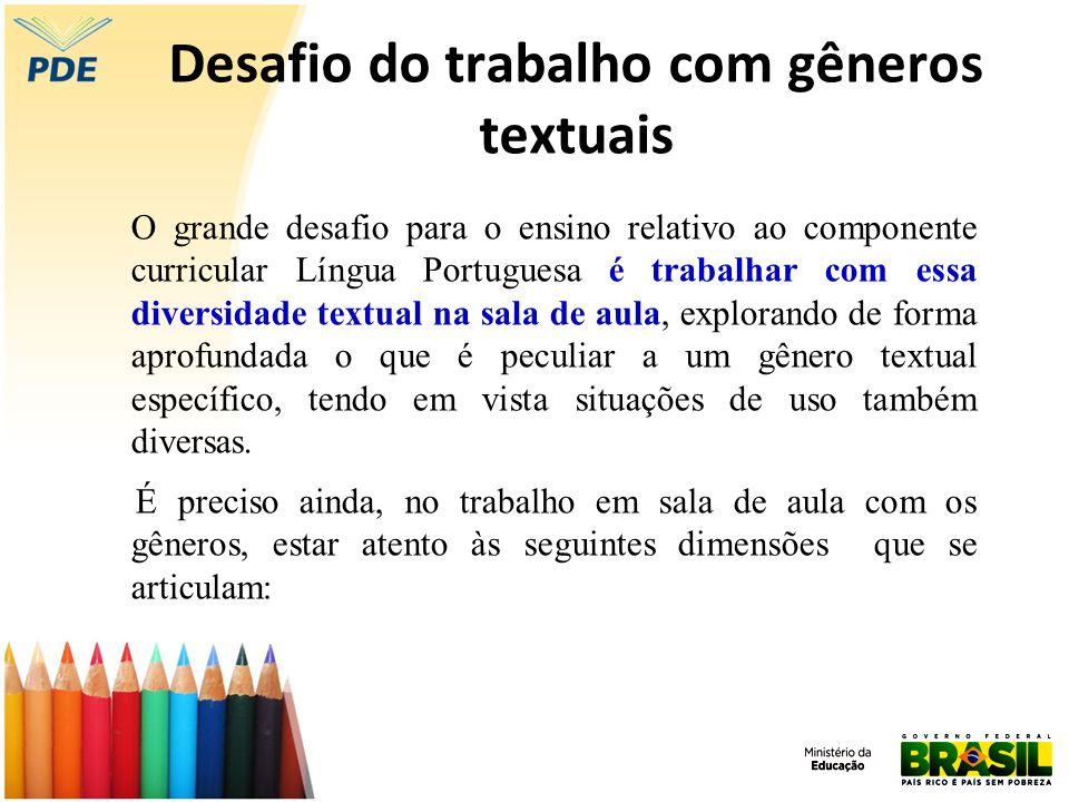 Desafio do trabalho com gêneros textuais O grande desafio para o ensino relativo ao componente curricular Língua Portuguesa é trabalhar com essa diver