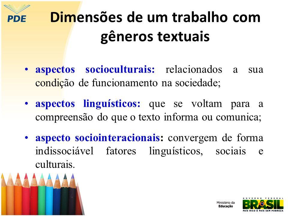 Dimensões de um trabalho com gêneros textuais aspectos socioculturais: relacionados a sua condição de funcionamento na sociedade; aspectos linguístico