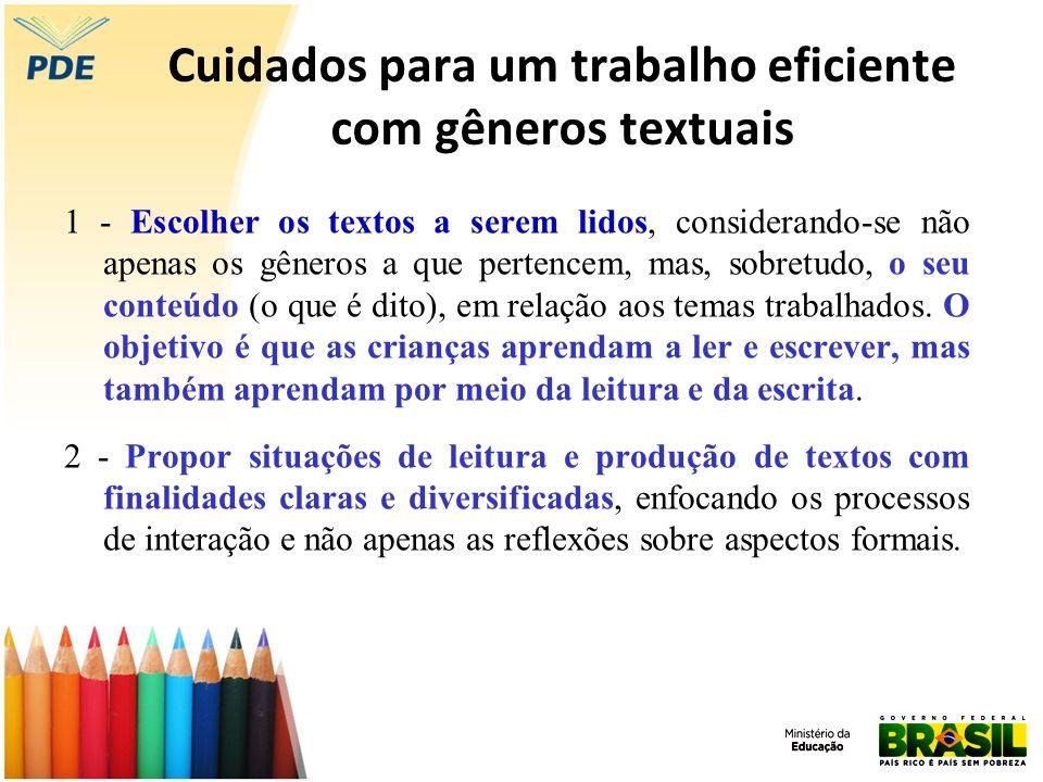 Cuidados para um trabalho eficiente com gêneros textuais 1 - Escolher os textos a serem lidos, considerando-se não apenas os gêneros a que pertencem,