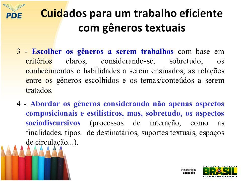 Cuidados para um trabalho eficiente com gêneros textuais 3 - Escolher os gêneros a serem trabalhos com base em critérios claros, considerando-se, sobr