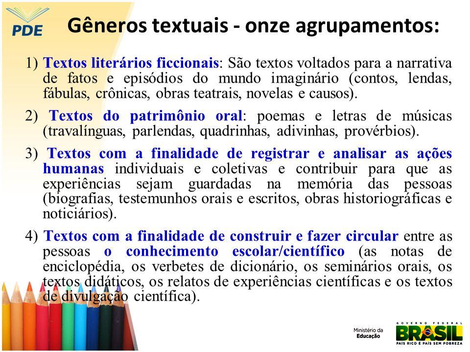 Gêneros textuais - onze agrupamentos: 1) Textos literários ficcionais: São textos voltados para a narrativa de fatos e episódios do mundo imaginário (