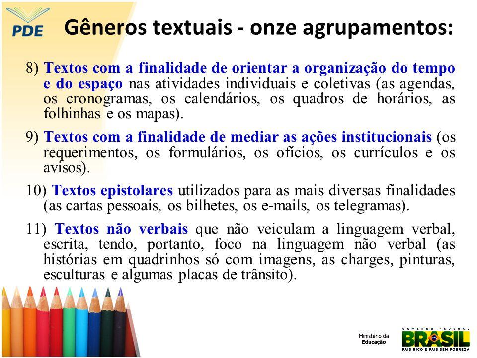 Gêneros textuais - onze agrupamentos: 8) Textos com a finalidade de orientar a organização do tempo e do espaço nas atividades individuais e coletivas