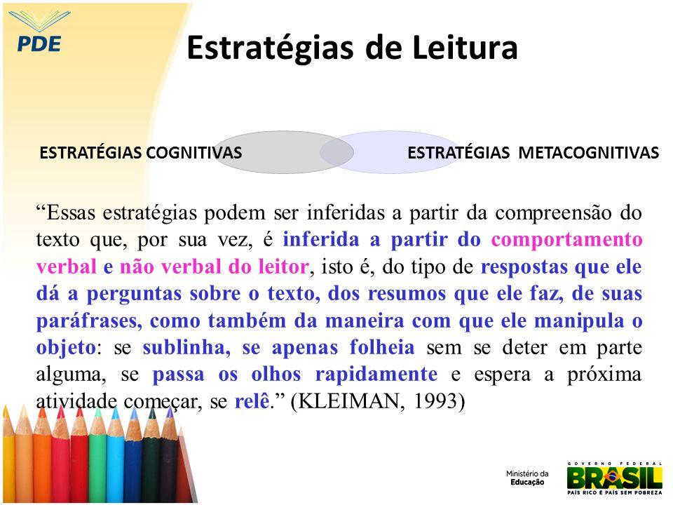 Estratégias de Leitura ESTRATÉGIAS METACOGNITIVASESTRATÉGIAS COGNITIVAS Essas estratégias podem ser inferidas a partir da compreensão do texto que, po