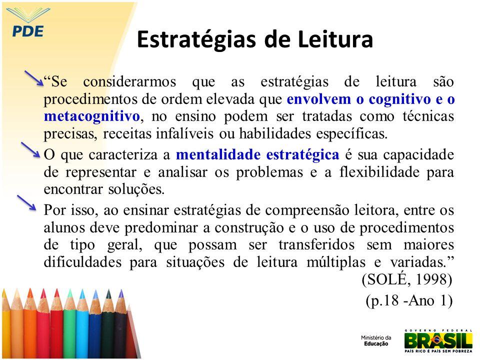 Estratégias de Leitura Se considerarmos que as estratégias de leitura são procedimentos de ordem elevada que envolvem o cognitivo e o metacognitivo, n
