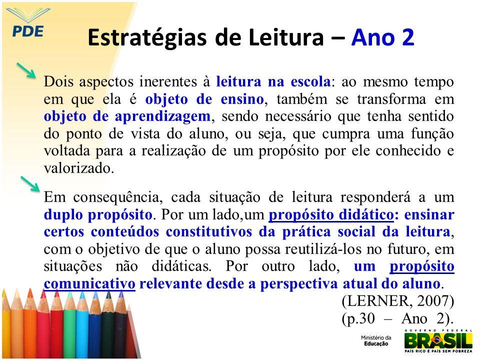 Estratégias de Leitura – Ano 2 Dois aspectos inerentes à leitura na escola: ao mesmo tempo em que ela é objeto de ensino, também se transforma em obje
